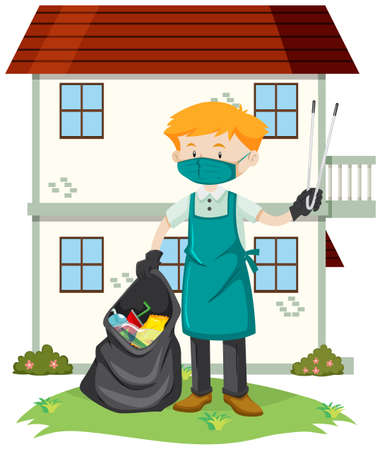 A Man Cleaning the Yard illustration