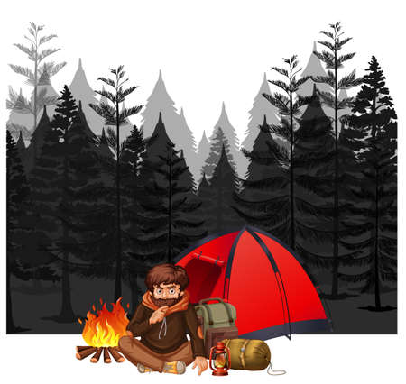 A Man Camping in Dark Forest illustration