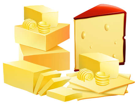 A Set of Cheese on White Background illustration