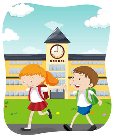 Happy Students Going to School  illustration