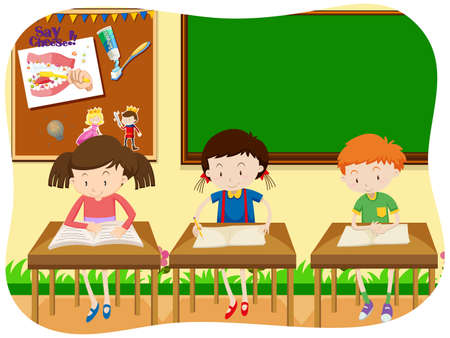 Three Students Learning in Classroom illustration