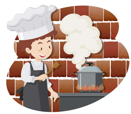 A Professional Chef Cooking Food illustration Vectores