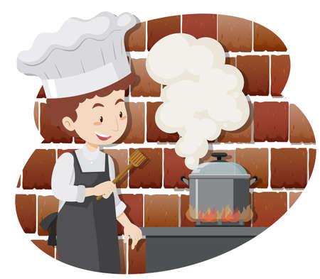 A Professional Chef Cooking Food illustration Illustration