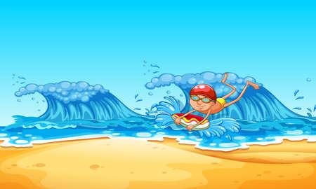 A Man Enjoy Bodyboarding at the Beach illustration 일러스트