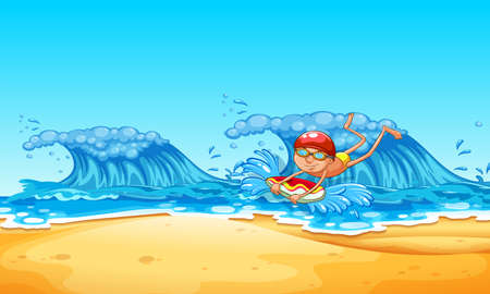 A Man Enjoy Bodyboarding at the Beach illustration Illustration