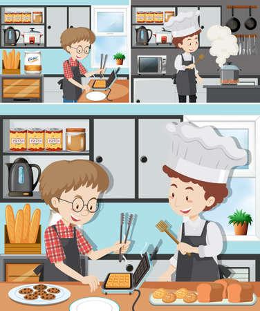 Un homme en illustration de cours de cuisine