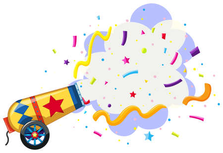 cannon exploding confetti background illustration