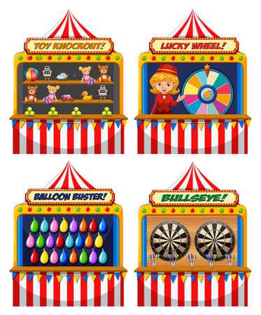 Un conjunto de ilustración de carpa de feria