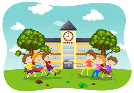 Children Play Tug of War illustration