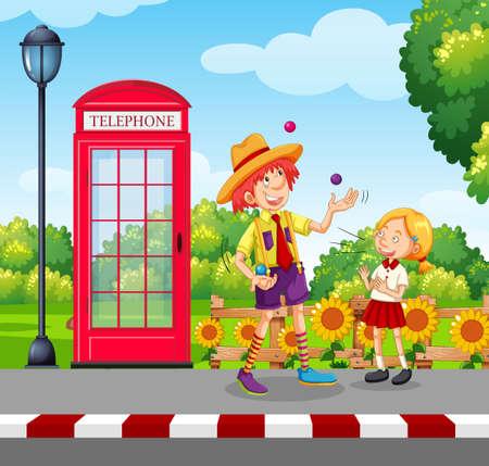 A Man Juggling on Street Side illustration Illustration