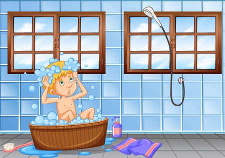 Young boy having a bath scene illustration