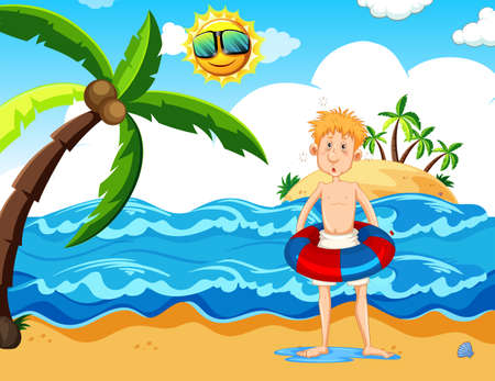 Man with a floaty at the beach illustration