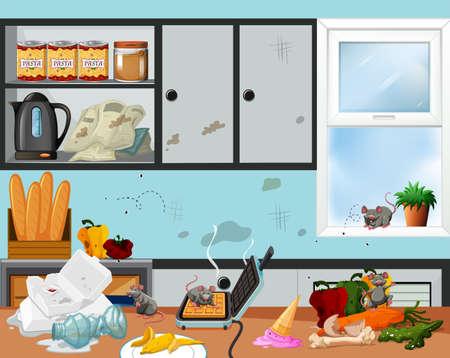 Een rommelige en onhygiënische keukenillustratie