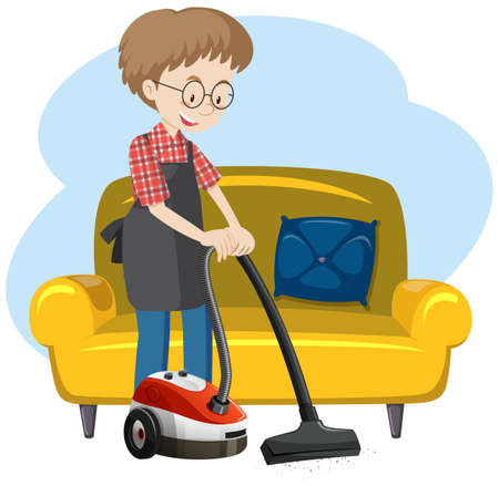 A Man Cleaning the House illustration Illustration
