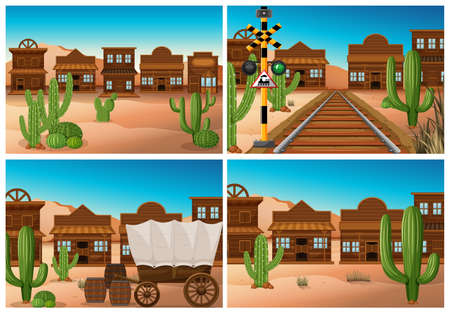 Set of wild west town illustration