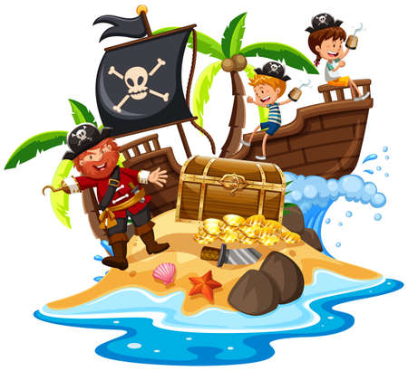 Pirate and Happy Kids at Island illustration