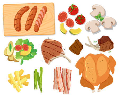 Various sets of barbecue food illustration