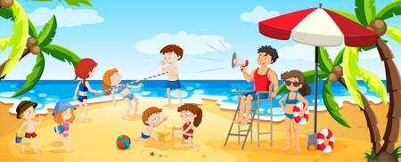 A Panorama View of Busy Beach illustration
