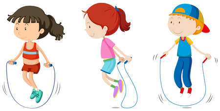 Set of children skipping illustration