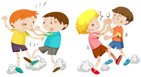 Set of young boys fighting illustration Illustration