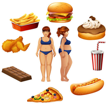 Overweight women with unhealthy food illustration Illustration
