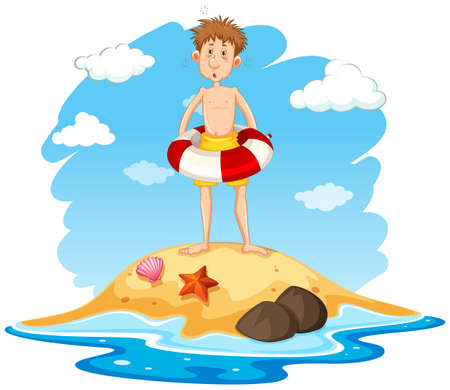 Man with a lifering on an island illustration Illustration