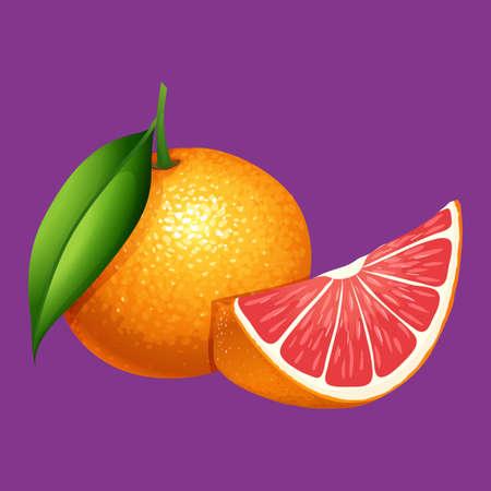 An Organice Grapefruit on Purple Background illustration