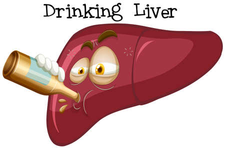 An Effect of Drinking Liver illustration  イラスト・ベクター素材