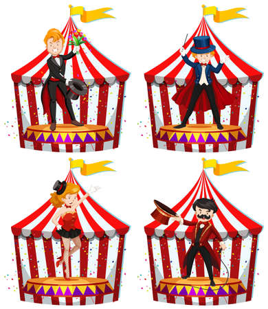 Set of circus entertainers illustration