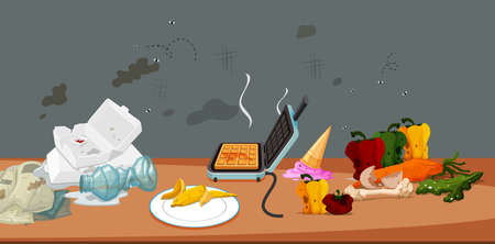 Dirty and mouldy food and rubbish illustration
