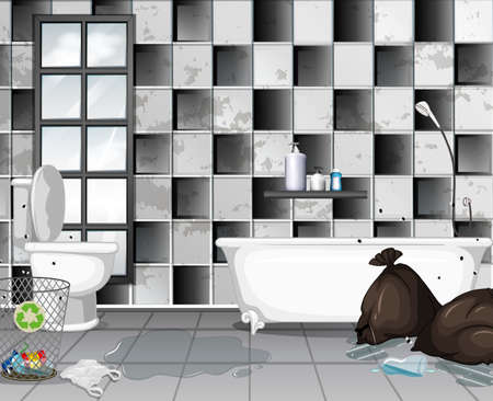 Dirty with rubbish bathroom scene illustration