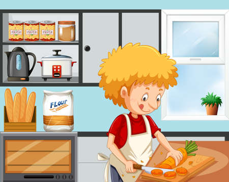 Young boy cooking in the kitchen  illustration