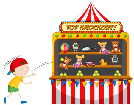 Boy playing toy knockout at carnival illustration
