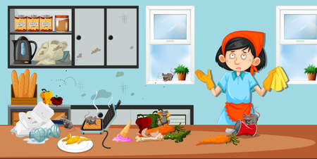 Housekeeper in dirty kitchen illustration