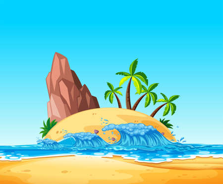 A Tropical Island and Wave illustration Illustration