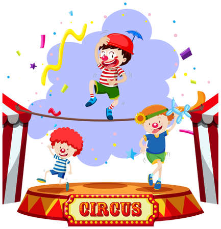 Children performing at the circus illustration Ilustração