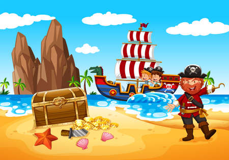 Happy Pirate and Kids  illustration Vectores
