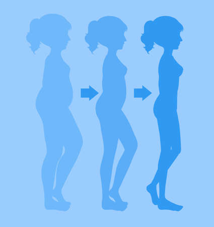 A Young Woman Losing Weight illustration Illustration