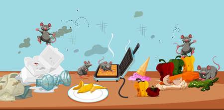 An Unsanitary Kitchen and Rat illustration Illustration
