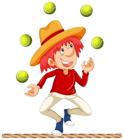 A Man Juggling on White Background illustration Stock Illustratie