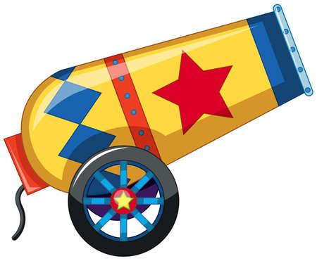 Ilustración de canon de confeti de circo rojo y amarillo