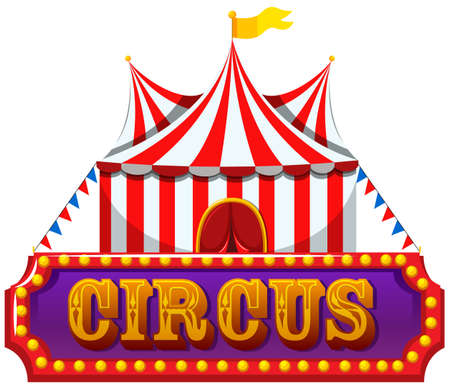 A Circus Banner on White Background illustration