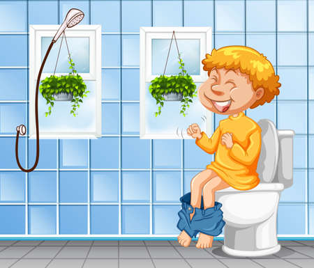 Young boy going to the bathroom  illustration