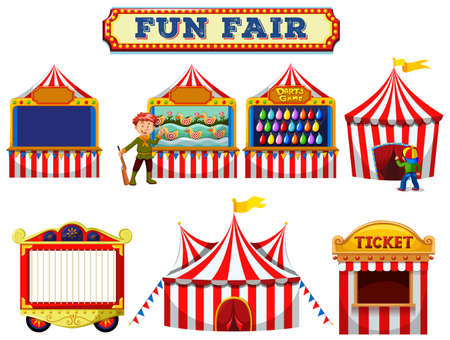 A Set of Fun Fair Tent illustration