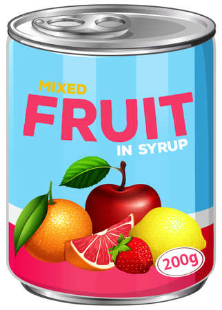 Can of mixed fruit in syrup illustration