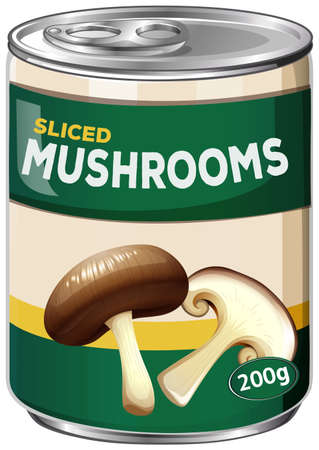 A Can of Sliced Mushrooms illustration
