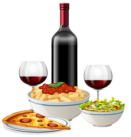 An Italian Cuisine on White Background illustration Illustration