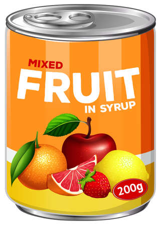 A Can of Mixed Fruit in Syrup illustration