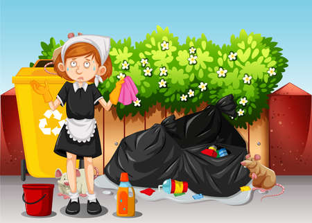 A Maid Cleaning Dirty Area illustration