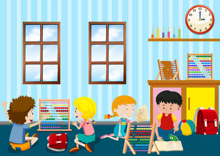 Group of young children playing illustration
